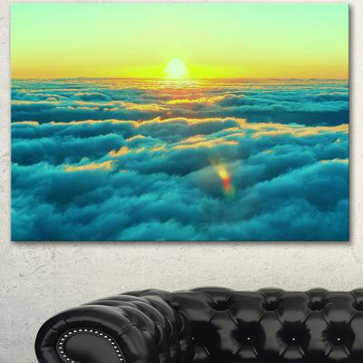Designart Beautiful Sunset Over Blue Clouds Landscape Canvas Art Print