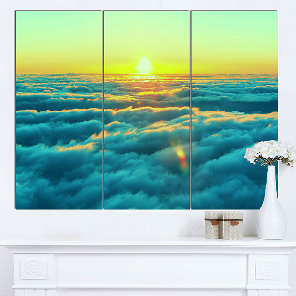 Designart Beautiful Sunset Over Blue Clouds Landscape Canvas Art Print - 3 Panels