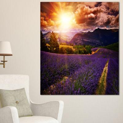 Designart Beautiful Sunset Over Lavender Field Floral Canvas Art Print