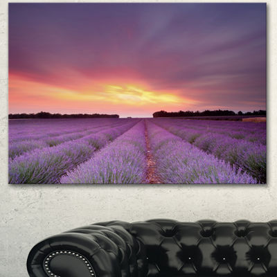 Designart Beautiful Sunset Over Lavender Rows Landscape Canvas Wall Art - 3 Panels