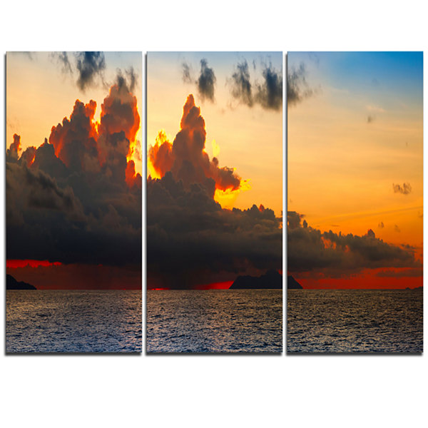 Designart Beautiful Sunset Over The Clouds Landscape Triptych Canvas Art Print