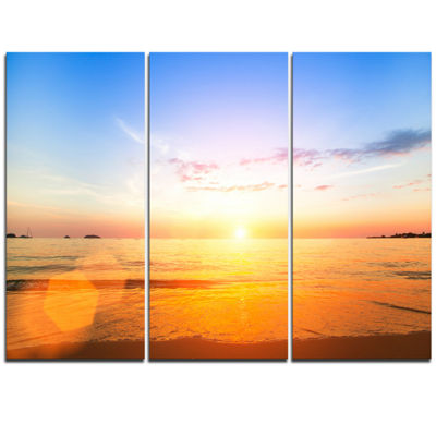 Designart Beautiful Sunset Over Yellow Waters Modern Beach Triptych Canvas Art Print