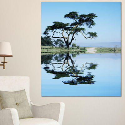 Designart Beautiful Tree Reflecting In Lake Oversized Landscape Canvas Art