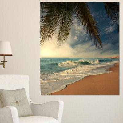 Designart Beautiful Tropical Beach With Palms Beach Photo Canvas Print - 3 Panels