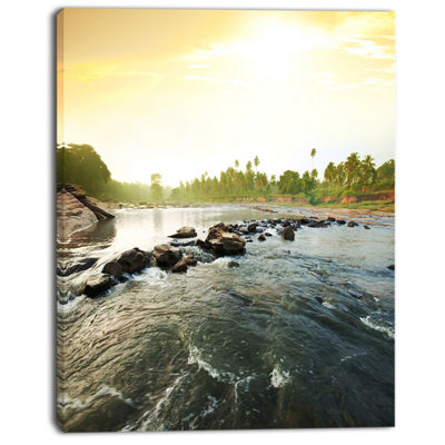 Designart Beautiful Tropical River With Clean Water Large Seashore Canvas Print