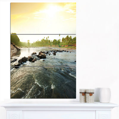 Designart Beautiful Tropical River With Clean Water Large Seashore Canvas Print - 3 Panels