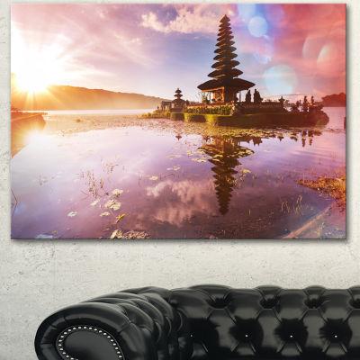 Designart Beautiful Ulun Danu Temple Oversized Landscape Canvas Art - 3 Panels