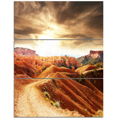 Designart Beautiful View Of Bryce Canyon African Landscape Canvas Art Print - 3 Panels