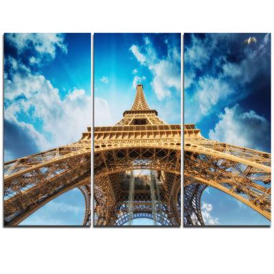 Designart Beautiful View Of Paris Paris Eiffel Towerin Paris Cityscape Triptych Canvas Print