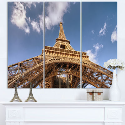 Designart Beautiful View Of Paris Paris Eiffel Towerunder Calm Sky Cityscape Triptych Canvas Print