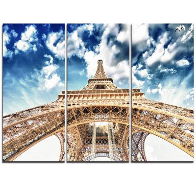 Designart Beautiful View Of Paris Paris Eiffel Towerunder Clouds Cityscape Triptych Canvas Print