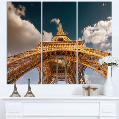 Designart Beautiful View Of Paris Paris Eiffel Towerunder Dark Sky Cityscape Triptych Canvas Print