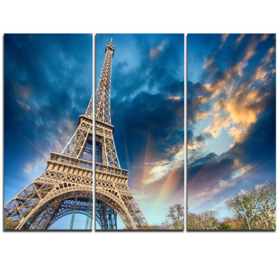 Designart Beautiful View Of Paris Paris Eiffel Towerunder Fiery Sky Cityscape Triptych Canvas Print