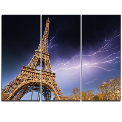 Designart Beautiful View Of Paris Paris Eiffel Towerunder Purple Sky Cityscape Triptych Canvas Print