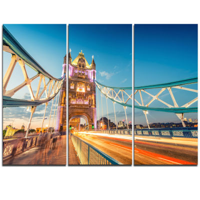 Designart Beautiful View Of Tower Bridge London Cityscape Triptych Canvas Print