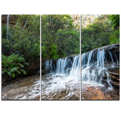 Designart Beautiful Waterfall In New Australia Landscape Triptych Canvas Art Print