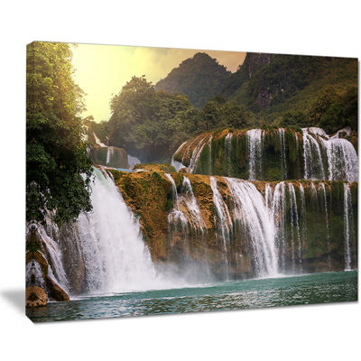 Designart Beautiful Waterfall In Vietnam LandscapeCanvas Art Print