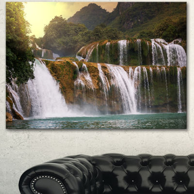 Designart Beautiful Waterfall In Vietnam LandscapeCanvas Art Print - 3 Panels