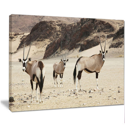 Designart Beautiful Wildebeests On Valley Landscape Artwork Canvas