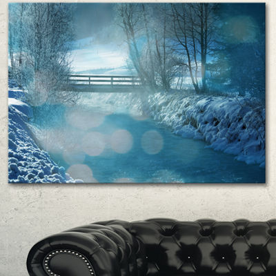 Designart Beautiful Winter River View Oversized Landscape Canvas Art