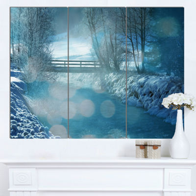 Designart Beautiful Winter River View Oversized Landscape Canvas Art - 3 Panels