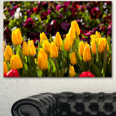 Designart Beautiful Yellow Tulips Garden Large Flower Canvas Art Print - 3 Panels