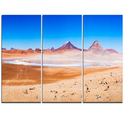 Designart Beauty Lake And Volcano On Altiplano Modern Seascape Triptych Canvas Artwork