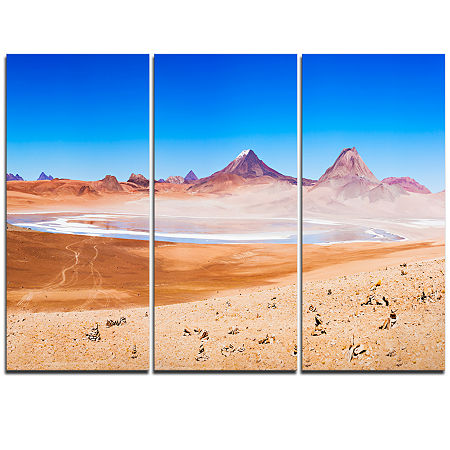 Designart Beauty Lake And Volcano On Altiplano Modern Seascape Triptych Canvas Artwork, One Size , Blue