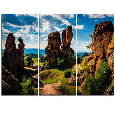 Designart Belogradchik City Fortress And Cliffs Landscape Triptych Canvas Art Print