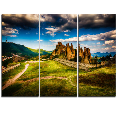 Designart Belogradchik Fortress And Cliffs Landscape Triptych Canvas Art Print