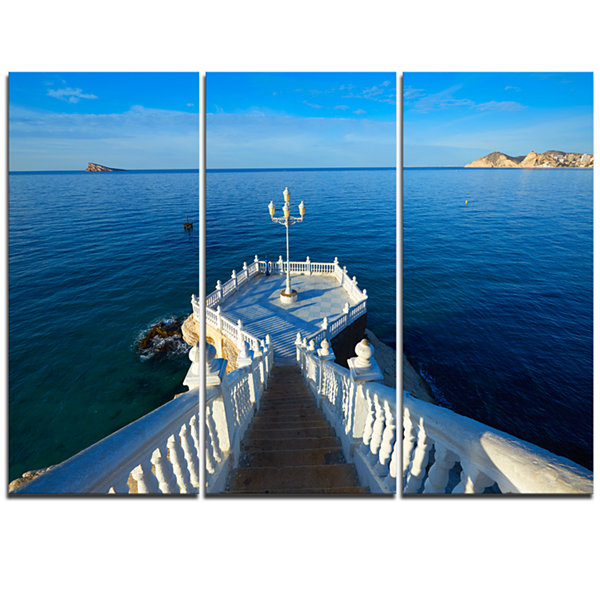 Design Art Benidorm Mirador Del Castillo Lookout Point Seascape Triptych Canvas Art Print