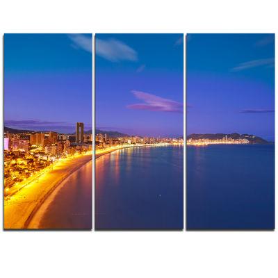 Designart Benidorm Poniente Beach Sunset SeascapeTriptych Canvas Art Print