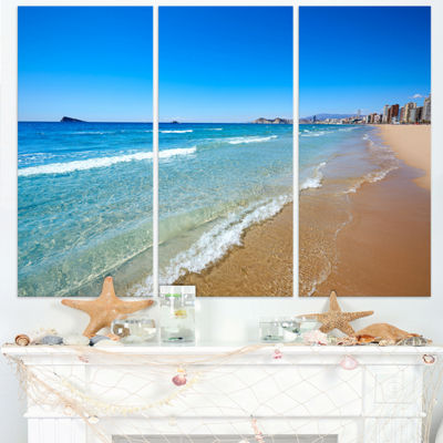 Designart Benidorm Poniente Beach Waves Seascape Triptych Canvas Art Print