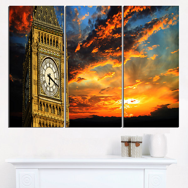 Designart Big Ben Uk London At Sunset Panorama Extra Large Wall Art Landscape