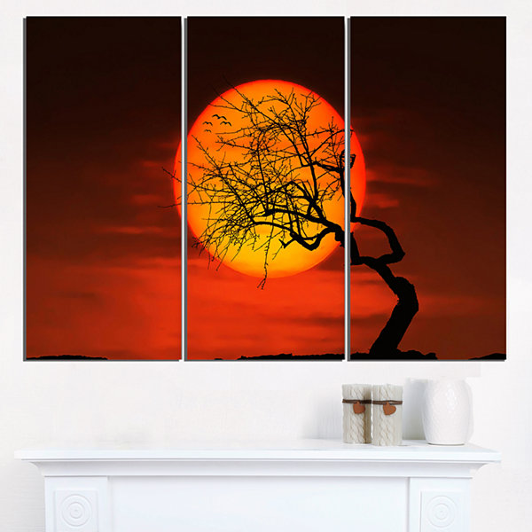 Design Art Birds And Tree Silhouette At Sunset Extra Large Wall Art Landscape