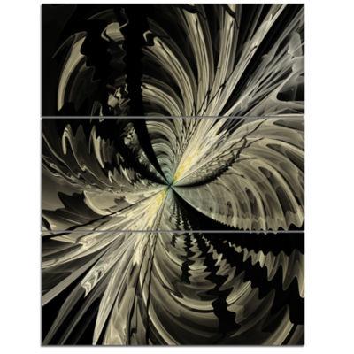 Designart Black And White Fractal Flower Design Floral Triptych Canvas Art Print