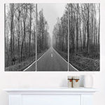 Designart Black And White Freeway In Forest Landscape Print Wall Artwork