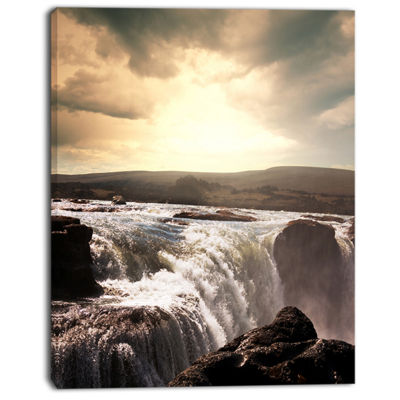 Designart Black And White Iceland Waterfalls Landscape Canvas Art Print