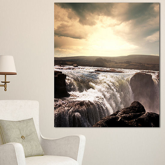 Designart Black And White Iceland Waterfalls Landscape Canvas Art Print