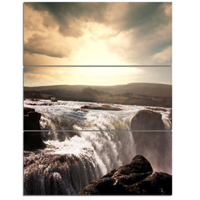 Designart Black And White Iceland Waterfalls Landscape Canvas Art Print - 3 Panels