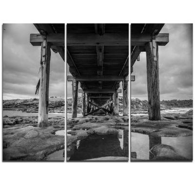 Designart Black And White Large Wooden Bridge SeaBridge Triptych Canvas Art Print