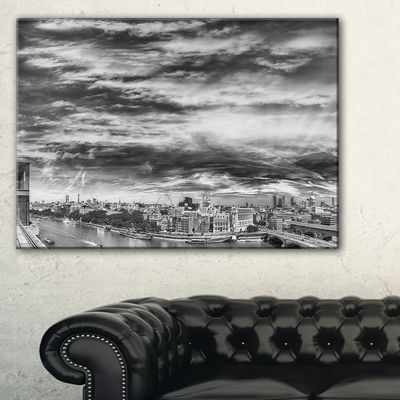 Designart Black And White Panoramic London Cityscape Canvas Print