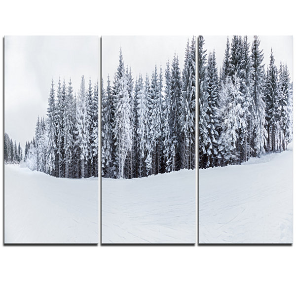 Designart Black And White Snow Capped Hills Landscape Triptych Canvas Art Print