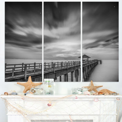 Designart Black And White Wooden Bridge And Sky Pier Triptych Canvas Art Print