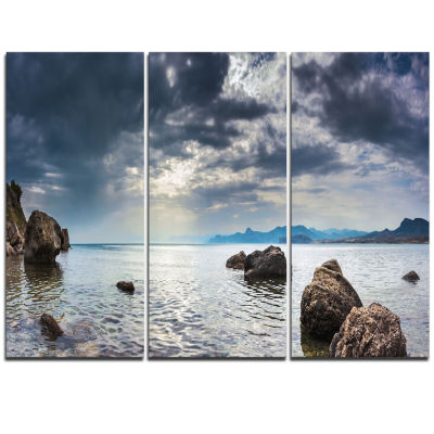Designart Black Seas In Crimean Peninsula PanoramaSeashore Triptych Canvas Art Print