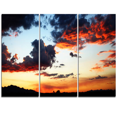 Designart Blazing Sky With Clouds Panorama Extra Large Seascape Art Triptych Canvas