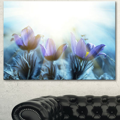Designart Blooming Blue Spring Flowers Floral Canvas Art Print