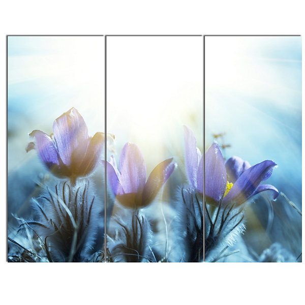 Designart Blooming Blue Spring Flowers Floral Canvas Art Print - 3 Panels