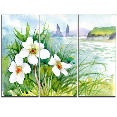 Designart Blooming Flowers On Summer River Landscape Artwork Triptych Canvas