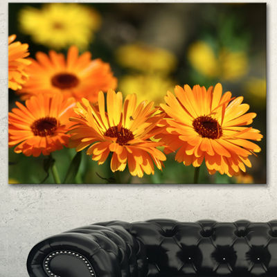 Designart Blooming Orange Marigold Flowers FloralCanvas Art Print - 3 Panels